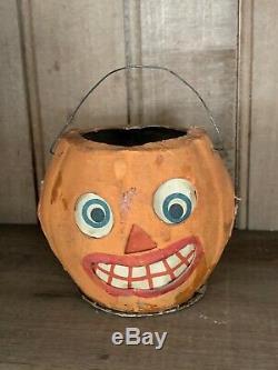 1920's Vintage Antique German Made Paper Mache Halloween Jack O Lantern with Bail