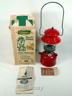 1964 Red Coleman Sport-Lite 200 Made in Canada Green Sunrise Globe with Box Mantle