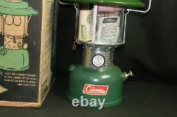 1965 Vintage Camping Coleman Lantern Big Hat 228F Double Mantle Green NOS