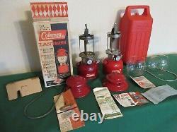2 Vintage Coleman Lanterns 1967 Red 200A + Burgundy 1962 Lantern in Box & Case