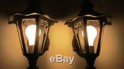 2 Vintage Mission / Medieval Hammered Lantern Porch Lights / Lamps