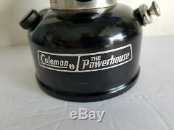 3/86 Coleman 290 The Powerhouse BLACK Lantern Picket Fence Globe Silver Case