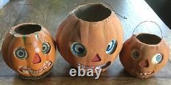 3 Vintage Halloween Germany German Jack O Lantern Pumpkins