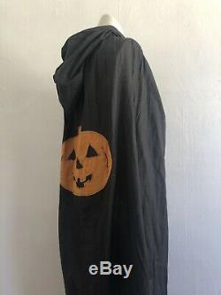 Antique 1920s Halloween Costume Cape Black Cotton Jack O' Lantern Pumpkin AAFA