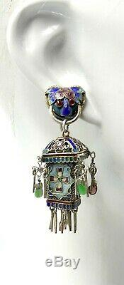Antique Chinese gold gilt silver filigree & jade tourmaline lantern earrings scr
