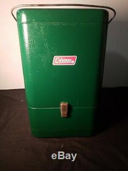 Antique NEW 3/81 Model 220K Coleman Lantern with Vintage Green Metal Coleman Case