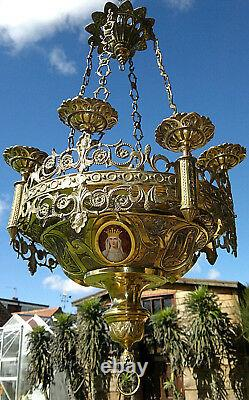 Antique Romanesque Church Sanctuary Lamp St Mary Chandelier Lantern Repoussé Wo