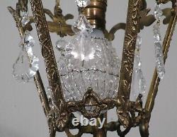 Antique Vintage Bronze Pendant Ceiling Fixture Crystals 1 Light Petite Lantern