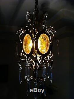 Antique Vintage Gothic Bronze Lantern Chandelier With Crystal Prisms