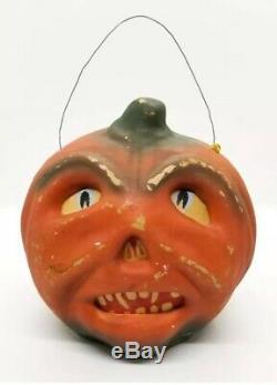 Antique Vintage Halloween Paper Mache Pulp Plaster Jack-O-Lantern Pumpkin