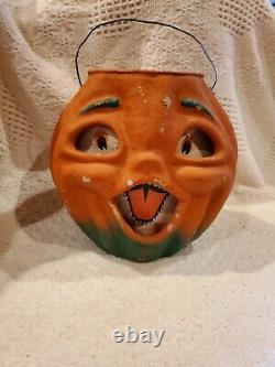 Antique Vintage Halloween Pumpkin Paper Mache Jack-O-Lantern, Paper Insert