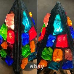 Antique Vintage Original Peter Marsh Lamp Light Lantern Leaded Glass Pair Avail