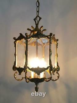 Antique Vtg European Brass & Plexi Glass Petite Lantern Chandelier Hanging Lamp