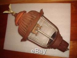 Antique/ Vtg Unique 22 Outdoor Cast Metal Gas Post Lantern Light W Eagle Finale