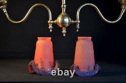 Art nouveau vintage brass 2 arm chandelier lantern 1930s French handmade shades