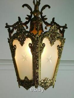 Beautiful Vintage French Bronze and Etched Glass Lantern/Hall Light