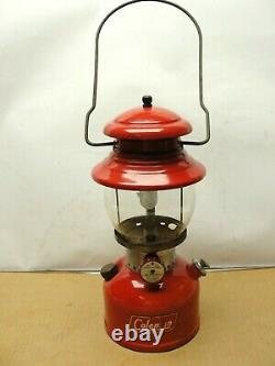 Clean Vintage 1958 Red Coleman Lantern 200A Single Mantle Green Letters Globe