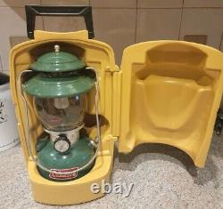 Coleman 200A 700 Lantern. Green Single Mantle with Yellow Clamshell Case