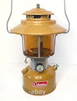 Coleman GOLD BOND 1/72 228F Vintage Gas Camping Lantern w Pyrex US AMBER Globe