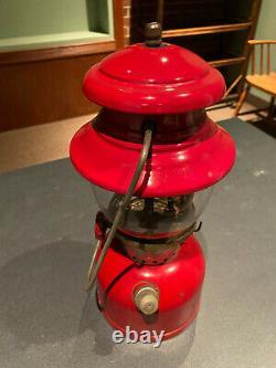 Coleman Lantern 200A Single Mantle CHERRY RED 6/62 Works Great Original Globe