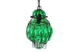 Fine Mid Century Vintage Venetian Murano Green Glass Chandelier Lantern