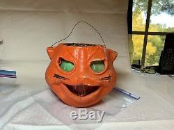 HALLOWEEN ORANGE CAT Jack O Lantern Vintage Antique PUMPKIN withINSERTS