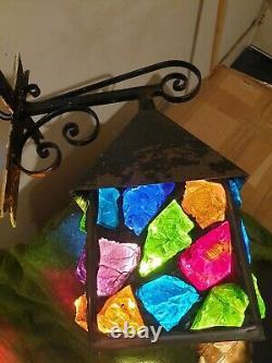 Heavy Original Vintage Peter Marsh Stained Glass Lantern Light Crucifix Bracket