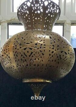 Huge Vintage Moroccan/persian Filigree/pierced Brass Teardrop Chandelier