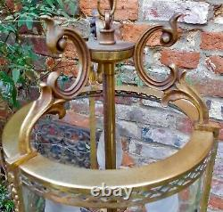 LARGE VINTAGE FRENCH CHATEAU GLASS and BRASS CYLINDER 3-LIGHT LANTERN PENDANT