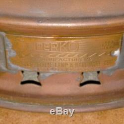 Large Rare Antique Vintage PERKO PERKINS 10 Signal Lantern Globe Light Brass