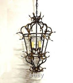 Large Vintage Venetian Iron and Gilded Tole Foliate Hanging Lantern