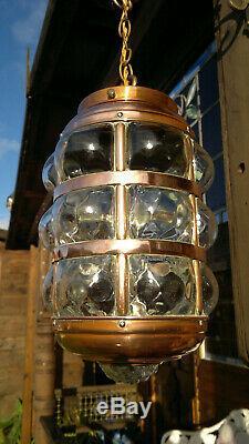 Large c1905 Antique Arts & Crafts Copper Hall Light Porch Lantern Blown Glass