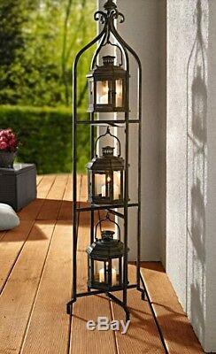 Metal Floor Candle Stand Holder with3 Tier Lanterns Antiqued Vintage Victorian