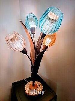 Mid century teak Tulip table lamp