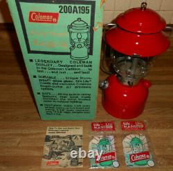 NICE COLEMAN LANTERN 200A RED Single Mantle With BOX, INSTRUCTION & EXTRA'S WORKS