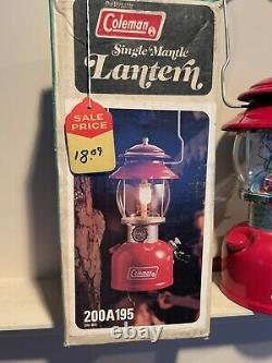 Nice Clean Vintage Coleman 200A Single Mantle Camping Lantern with Box Aug 1979