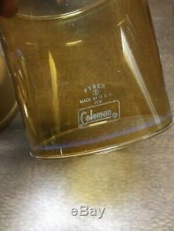 Nice Vintage Coleman 228H Gold Bond Lantern withCase, Amber Globe & Spark Igniter