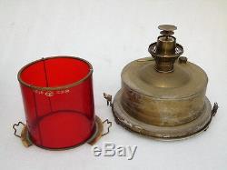 Nos Vintage All Brass Ships Lantern Class A2 Red Light Oil Kerosene Lamp In Box