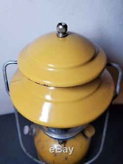 ORIGINAL Coleman 200A Lantern Gold Bond 2/73 YELLOW Rare Vintage Lantern