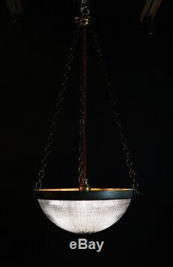 Original 1910 re-claimed vintage HOLOPHANE Industrial pendant light lantern