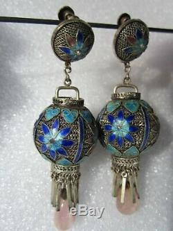 Original Vintage Chinese Silver Filigree Enamel Pink Tourmaline Lantern Earrings