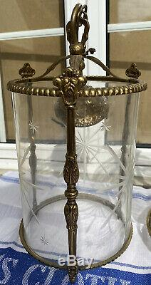 PAIR VINTAGE ANTIQUE BRASS CEILING HANGING LANTERN LAMPS LIGHTS GLASS SHADES Vgc