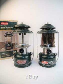 Pair (2) Vintage Coleman Model 288A700 / 288A700T Double Mantle Camping Lanterns