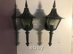 Pair Of Vintage Porch Light Lantern. Witch Hat Sconce