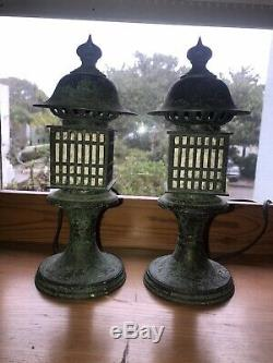 Pair Vintage Japanese Garden Bronze Tsuridoro Buddhist Lanterns Electrified