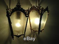 Pair of Vintage French Ornate Bronze / Brass Lantern Style Ceiling Lights