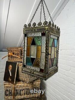 Perfect Cond Lrg Antique C19th Hall Lantern Pendant Light Stained Coloured Glass