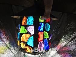Peter Marsh Leaded Coloured Glass Lantern Arts & Crafts Lamps Vintage Antique