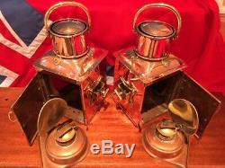 Port & Starboard Lights Vintage Pair If Navigation Lights Lanterns Copper Lamps