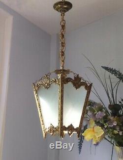 Pretty Vintage French 4 panel brass & glass Pendant Lantern Light Chandelier